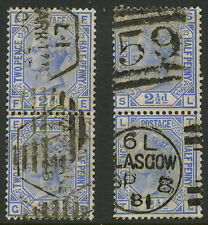 GB QV 2 1/2d BLUE TWO VERTICAL PAIRS FINE USED cv £140...FE GE SL TL...SG157