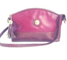 "New listing Capezio Leather Baguette Handbag 11"" Crossbody Embossed Tassel Burgundy Vintage"