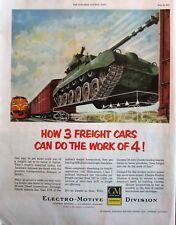 Army tank on Railcar 1951 GM Ad