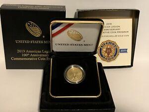 2019-W American Legion 100th Anniversary Uncirculated $5 Gold Coin