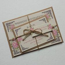 VINTAGE POSTCARD STYLE WEDDING INVITATIONS & RSVP - Pink Floral Sample Invite