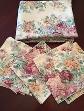"Tablecloth w/Napkins Jacquard CreamGold Pink Floral 98""Lx58""W Elegant Reception"