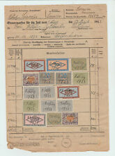 Germany 1923 document with lots of  inflation revenue stamps