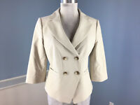 Ann Taylor M 8 Double Breasted 3/4 sleeve Blazer Jacket Career Cocktail Beige
