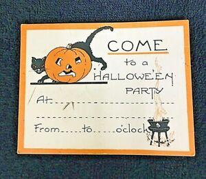 Vintage Halloween Invitation 4 x 3 1/8 Inch Cauldron Black Cat JOL