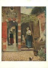 Postcard painting reproduction Hooch portrait of a dutch house