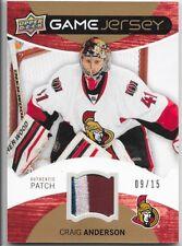 12/13 Upper Deck Game Patch Craig Anderson /15 GJ-CA Senators