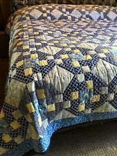 Amish quilt, handmade, king, bed, blanket, blue,white,yellow, cotton, bedding