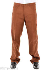 CC BROTHERS New Man Brown 100% Cotton Pleat Casual Pants Trouser Size 36 $160