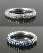 Blue & White Round CZ 925 Sterling Silver 4mm Studded Solid Right Hand Band Ring