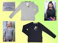 Mädchen Sweatshirt Pulli Sweat Pullover m. Volants Gr. 128-164 Farbe wählbar NEU