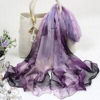 Fashion Women's Purple Lotus Flower Print Long Chiffon Scarf Wrap Shawl Stole