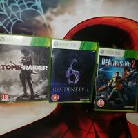 XBOX  360 bundle oF 3 GAMES   DEAD RISING 2 RESIDENT EVIL 6 TOMB RAIDER