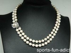 """14K Gold Diamond Clasp 17.25"""" Cultured Pearl 7.6mm Handknotted 2 Strand Necklace"""