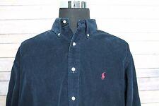 Polo Ralph Lauren Long Sleeve Corduroy Blaire Button Shirt Dark Blue XL XLarge
