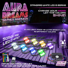 8PC Set 48 LED Truck Bed Lighting Remote Kit RGB 16 Multi Color Universal Truck