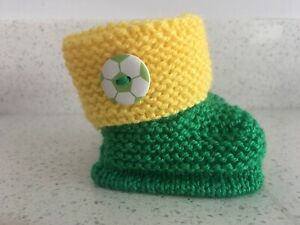 Baby's Knitted First Football Boots Green and Yellow