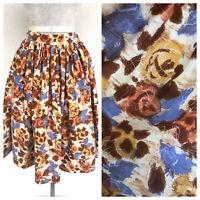 Vintage VTG 1950s 50s Floral Brown Pink Cotton Full Skirt