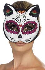 Sugar Skull Glitter Cat Masquerade Mask Genuine Smiffys - New