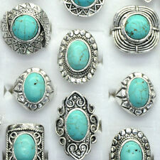 5PCS Wholesale Mixed Lots Vintage Gemstone Siler P Turquoise Rings Jewelry Bulk