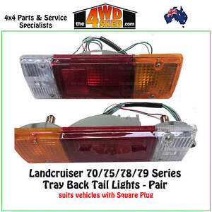 Tail Lights Tray Back fit Toyota Landcruiser 70 75 78 79 Series PAIR Square Plug
