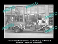 OLD 8x6 HISTORIC PHOTO OF LAWRENCEBURG KENTUCKY FIRE TRUCK & GAS STATION 1935