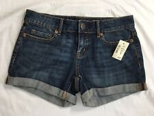 Aeropostale Midi Jean Shorts Size 00 Short Rolled Stretch Denim Distressed NWT