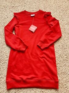 NEW Hanna Andersson Red Tunic Sweat Shirt Dress Size 140 10 Long Sleeve