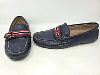 POLO RALPH LAUREN DRIVING MOCCASIN WILLEM RIBBON LOAFER BLUE LEATHER MENS 8 D