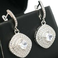 Large 1CT Moissanite Dangle Earrings Women Engagement Jewelry White Gold Plated