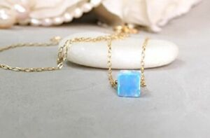 "14K Gold Filled Blue Opal Cube Necklace For Women - 18"" Chain - October Stone"
