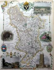 DERBYSHIRE DERBY BY THOMAS MOULE GENUINE ANTIQUE MAP WITH HAND COLOUR  c1840