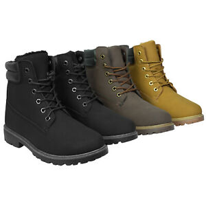 Mens Boots Winter Warm Combat Hiking High Top Desert Lace Up Ankle Shoes Size UK