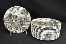 Myott Staffordshire Royal Mail Brown Set of 14 Bread & Butter Plates