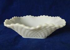 "Vintage Milk Glass Candy Dish Bowl Diamond Point Pattern 1-3/4"" H"