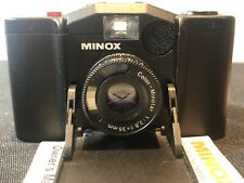 Minox 35EL 35mm Film Camera with leather case with Vivitar flash Batteries