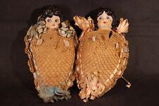 Vintage Porcelain Pin Cushions, Porcelain Half Doll Figurine Sewing Pin Cushions