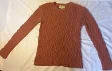Women's RUBY MOON Pink Cable Knit Sweater Chunky Crew Neck Wool Blend Size Med