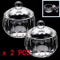 2pcs Acrylic Crystal Glass Dappen Dish Lid Bowl Cup For Liquid Powder Nail Art