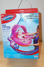 Nib SwimWays Sun Canopy Baby Boat Pink 9-24 months pool Summer fun Float boys