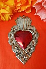 Authentic Mexican Tin Folk Art Heart Milagro Napoli Style Antiqued Patina Oaxaca