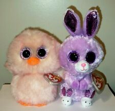 "Set of 2 Ty Beanie Boos - FEATHERS Baby Chick & FUZZY Bunny Rabbit 6"" Easter NWT"
