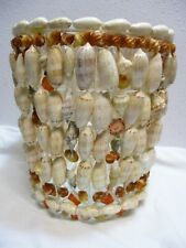 "Handmade Genuine Seashell Wastebasket Trash Can Nautical Salt Life Acrylic 10"""