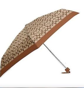 COACH UV Protection Mini Umbrella In Signature SV/Khaki/Saddle New With Tag