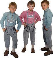 Kniebundlederhose Lederhose + Träger Trachten Trachtenlederhose für Kinder grau