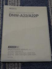 Sony Digital Videocassette Player DNW-A22/A22P Betacam SX Maintenance Manual