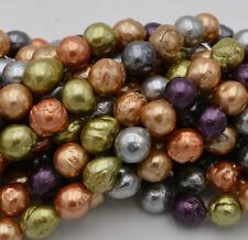 "Nature 10-11mm MultiColor south sea baroque reborn keshi pearl loose beads 15 """