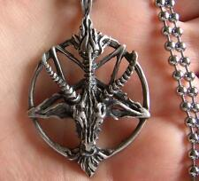 Satanic goat's head Baphomet pentagram occult pagan satan goth pendant necklace