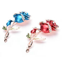 Moda Mujer Flor Rosa Broche Pin Boda Nupcial de diamantes de imitación de lujo