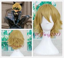 Miraculous Ladybug Adrien Cat Noir Short Yellow blonde Cosplay wig +a wig cap